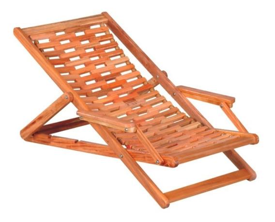 Cadeira Espreguiçadeira Dobrável Com 5 Cabo De Aço E Madeira
