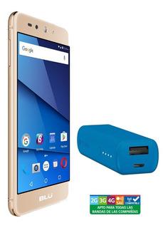 Smartphone Blu Grand Xl Lte Gold + Batería Mophie 2600 Azul