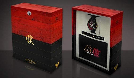 Kit Relógio + Camisa + Caneta Flamengo 120 Anos