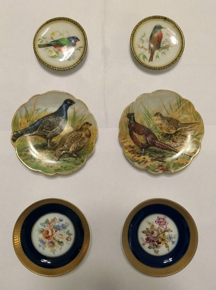 Lote Platos Decorativos Antiguo Porcelana Limoges Aves Vario