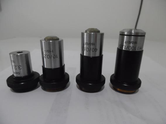 Objetivas Aus Jena Para Microscópio, De 4x,10x,40x,100x