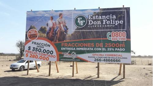 Imagen 1 de 8 de Terrenos Estancia Don Felipe,club De Campo, 2500m2 Ecologico