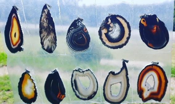 Pingente Pedras Agatas Naturais 4 A 7cm - 30 Peças