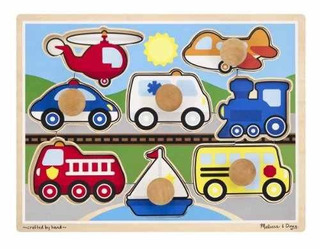 Melissa & Doug Vehicles Jumbo Knob Wooden Puzzle (8 Pie