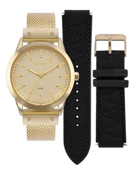 Relógio Euro Feminino Neoprene Eu2035yok/4d Dourado + Nf-e