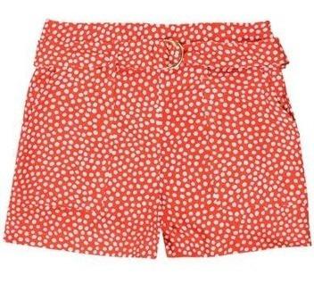 Shorts Feminino Cintura Alta Em Tecido Estampado Hering