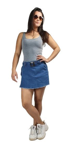 Shorts Saia Jeans Feminina Cintura Alta Com Lycra