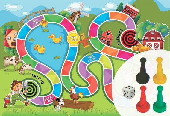 Jogo De Tabuleiro Fazendinha Em Lona Infantil