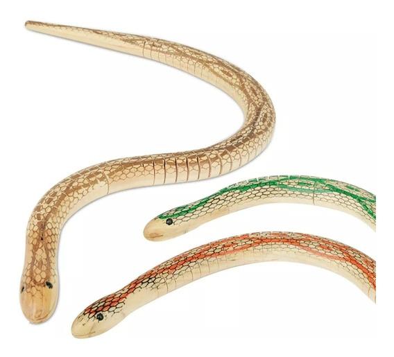 Cobra Madeira Articulada 50cm Enfeite Decorativo