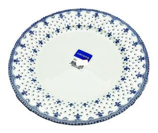 Plato Playo Corona Elisa Vajilla Porcelana Diseño 24 Cm X 6