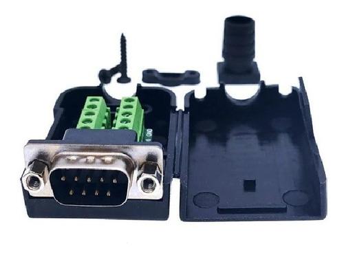 Imagen 1 de 2 de Conector Ficha Db-9 Db9 Macho 9 Pin Con Tapa Rs232 Tornillos