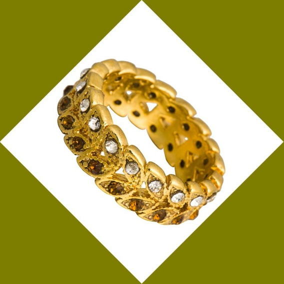 Anel Aliança Princess Banho Ouro Amarelo14k Aro17 Semi Joias