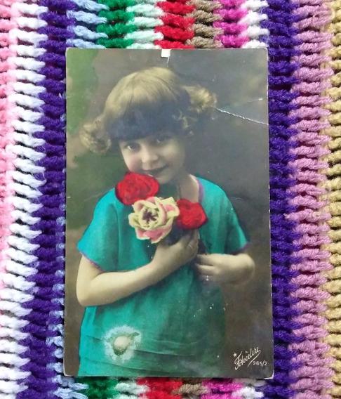 Antigua Postal Foto Pintada Niña Años 20 Flores Italia