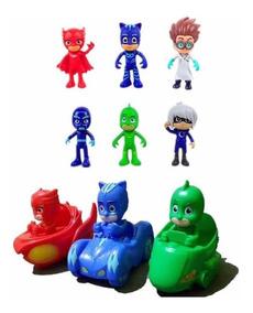 Brinquedos 6 Bonecos Pj Masks E 3 Carrinhos Fricção 10 Cm