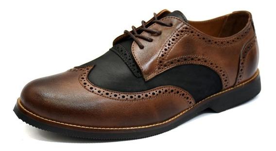 Sapato Oxford Masculino Couro Palmilha Gel Dia A Dia Confort