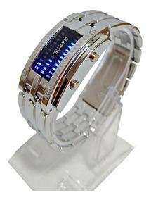 Relógio Feminino Prata Led Digital Calendário Futurista