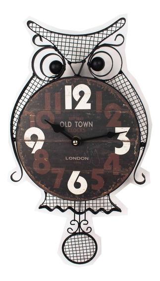 Reloj De Pared Buho Con Péndulo Vintage Metalálico C Madera