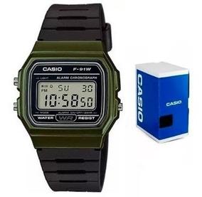 Reloj Casio F91 Wm Verde Retro Vintage Original Envío Gratis