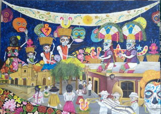 Folklore Y Dia De Muertos, Pintura Al Óleo