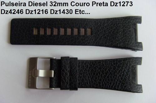 Pulseira Diesel 32mm Dz1273 Dz4246 Dz1430 Dz1216 Couro Preta