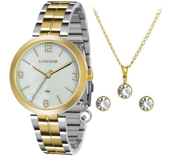Kit Relógio Lince Fem Lrt4458l Kt67b2sk Com Colar/brinco