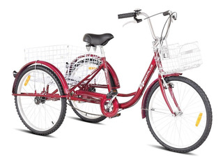 Bicicleta De 3 Ruedas Triciclo Adulto R26 Roja Envio Gratis
