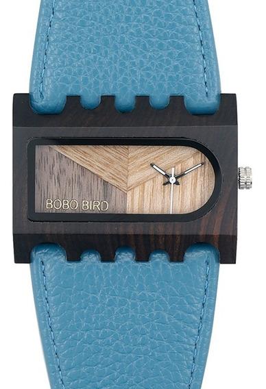 Relógio Feminino Bambu Analóg Bobo Bird Azul N23 Lançamento!