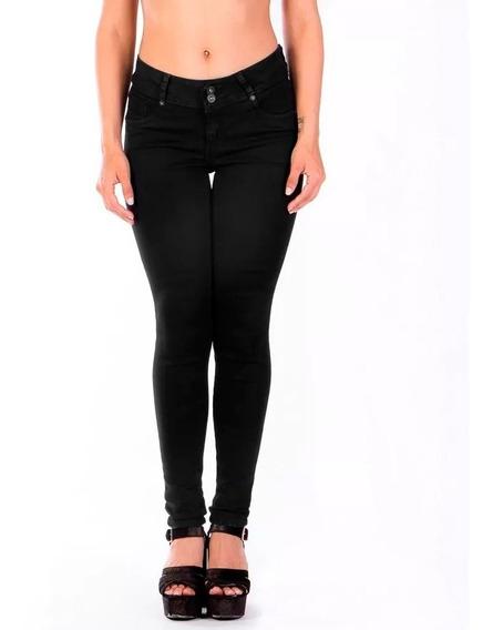 Jeans Skinny Negro Dos Botones, Pretinaancha Pinzas Traseras