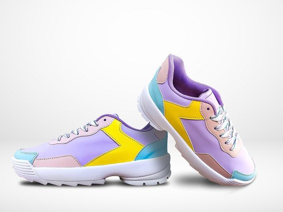 Tenis Sneaker Mujer Lila Multicolor