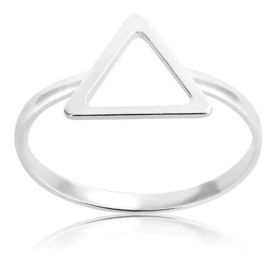 Anel Prata 950 Triangulo Vazado