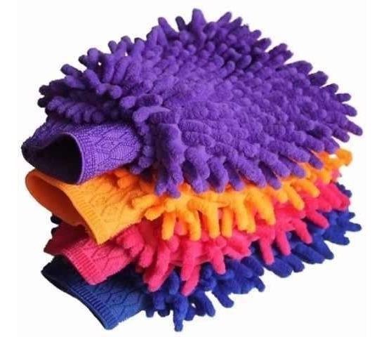Kit 3 Luvas Microfibra Para Lavar Carro E Limpeza Doméstica