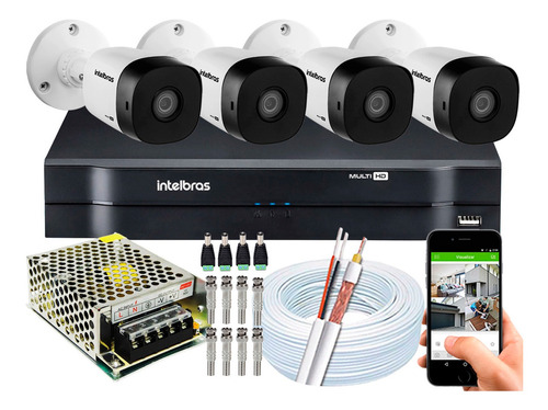 Kit 4 Câmeras Intelbras Multi Hd G4 720p Dvr Mhdx 1104 S/ Hd
