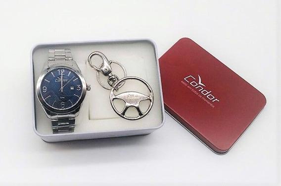 Kit Relógio Condor Masculino Prata Visor Azul Co2115wi K3a