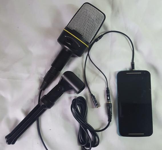 Microfone Condensador Celular Voz Reportagem Rua Portátil