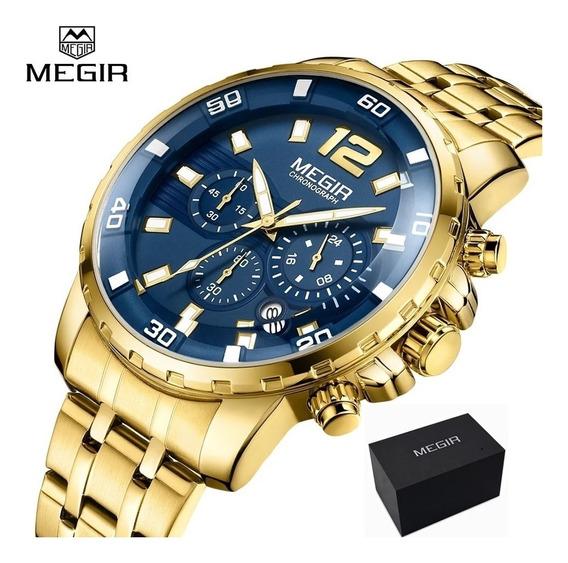 Relógio Masculino Megir Azul Cronógrafo Original + Caixa
