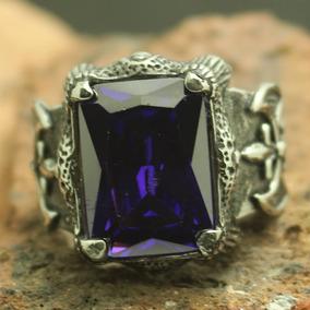 Anel Gótico Viking Pedra Azul-violeta Aço 316l