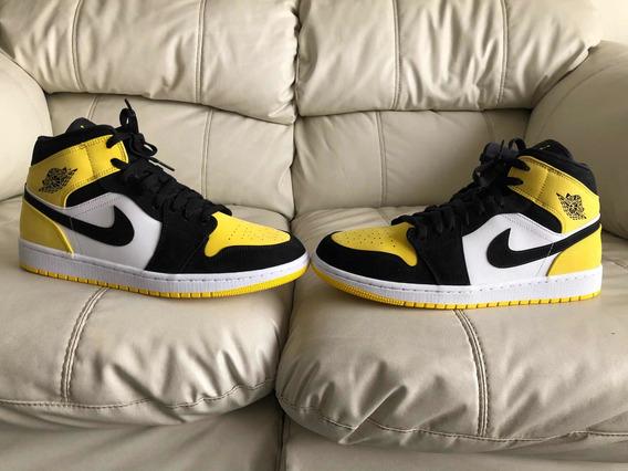 Tenis Air Jordan Retro 1 Mid Yellow Toe Black Del 29.5mx