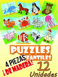 Kit Puzzle Rompecabezas Mdf Infantil 4 Piezas Animales
