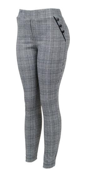 Pantalón De Vestir Tartan, Bolsas Simuladas, Entallado.