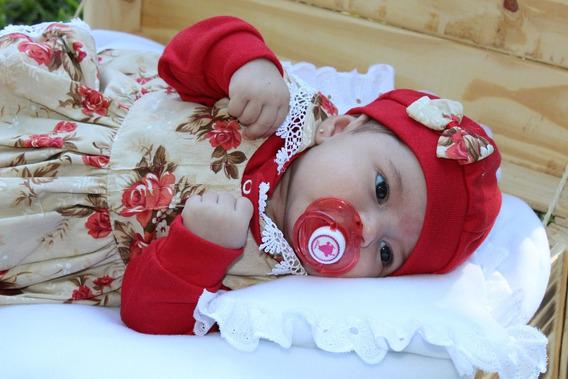 Saida De Maternidade 05 Peças Menina Vermelha Laura Luxo