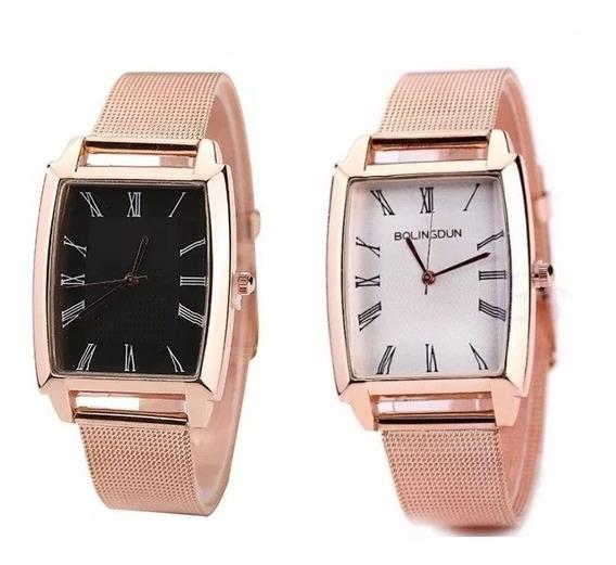 Kit C/2 Relógio Barato Lindos Feminino Em Aço Dourado Rosê