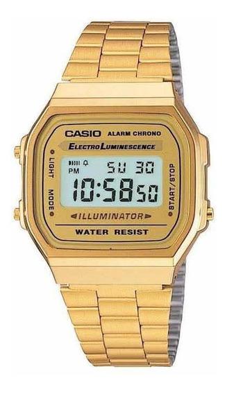 Relogio Casio 3298 A168 Dourado Original 1 Ano De Garantia.