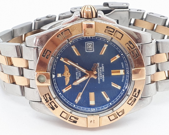Relógio Breitling Aço E Ouro - 32mm Sem Contar A Coroa Azul