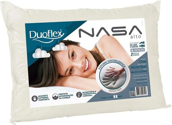 Travesseiro Nasa Alto Duoflex 100% Algodão Bege 50 X 70 Cm