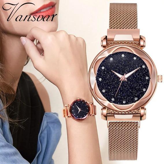 Relógio Feminino Pulseira Magnética Céu Estrelado