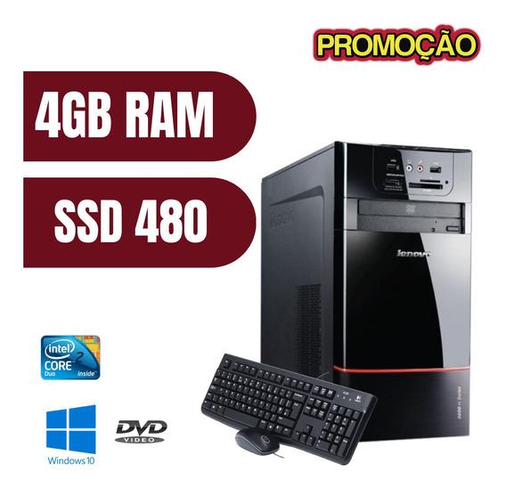 Pc Lenovo Torre Dvd 4gb Ssd 480 Win10 Brinde - Promoção !!