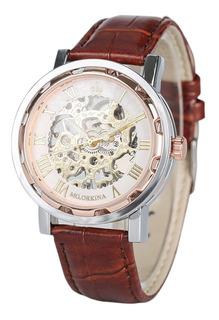 Reloj Clásico V. Colores Malla Cuero A Cuerda Calidad