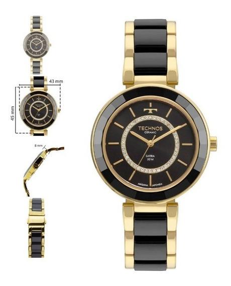 Relógio Technos Ceramic Safira Feminino Dourado 2036mkp/4p