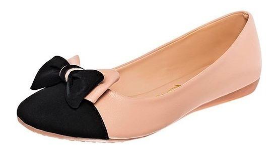 Zapato Bajo De Dama Elegante Rosa Claro Con Negro Con Moño