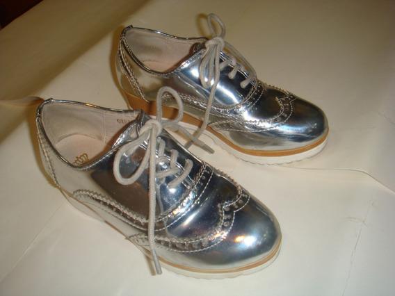 Zapatos De Niñas Pavitas Talla 30 Plateados